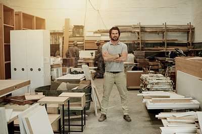Buy stock photo Full length portrait of a handsome male carpenter standing with his arms folded in the workshop
