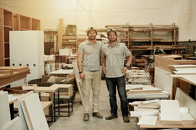 Buy stock photo Full length portrait of two handsome male carpenters standing in their workshop