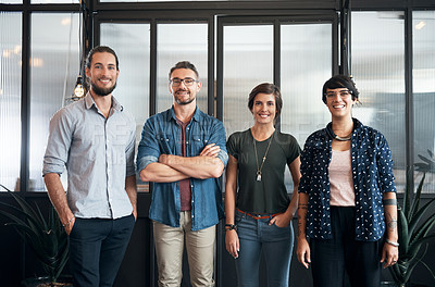 Buy stock photo Portrait of a team of designers standing in an office