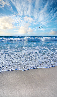 Buy stock photo Vertical images of sandy beach, ocean and sky