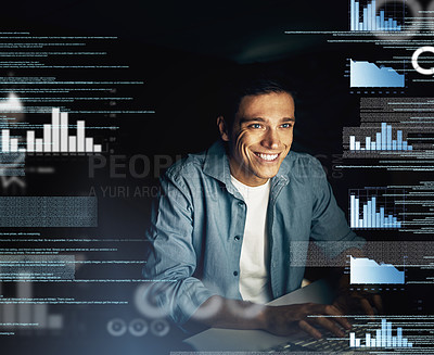 Buy stock photo Cropped shot of a young computer programmer looking through data in the dark