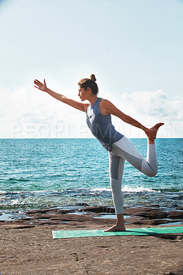 Buy stock photo Shot of an attractive and healthy young woman on the promenade