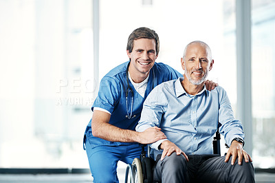 Buy stock photo Portrait of a male nurse caring for a senior patient in a wheelchair