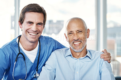 Buy stock photo Portrait of a male nurse caring for a senior patient