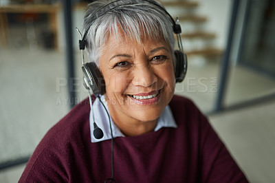 Buy stock photo Portrait of a mature woman working in a call centre