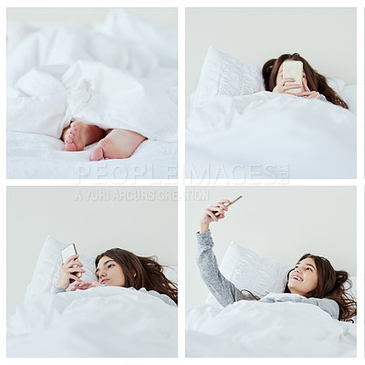 Buy stock photo Composite shot of an attractive young woman busy with her phone while lying in bed at home during the day