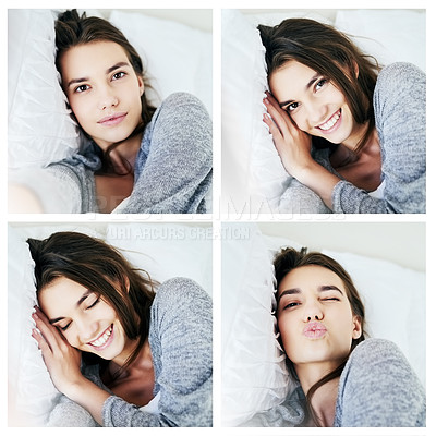 Buy stock photo Composite shot of an attractive young woman taking self portraits and blowing kisses while lying in bed at home during the day