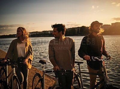 Buy stock photo Shot of friends spending time together outside