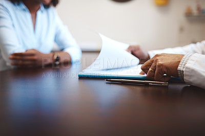 Buy stock photo Closeup shot of an unrecognizable doctor having a consultation with a patient in his office