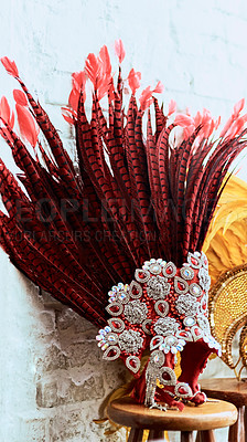 Buy stock photo Cropped shot of a costume's headwear of samba dancers for carnival with no people