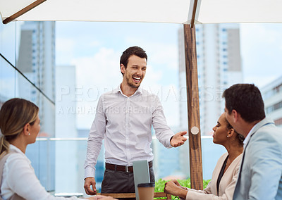 Buy stock photo Cropped shot of a handsome young businessman giving a presentation in the boardroom