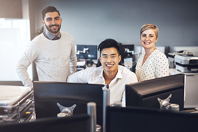 Buy stock photo Shot of creative colleagues working together in the office