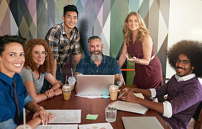 Buy stock photo Cropped shot of creative colleagues having a meeting in a modern office