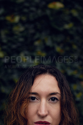Buy stock photo Closeup shot of a beautiful young woman's face outside