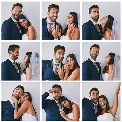 Buy stock photo Composite studio image of a newly married young couple in various fun poses against a gray background