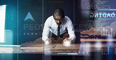 Buy stock photo Shot of a handsome young businessman using a digital interface