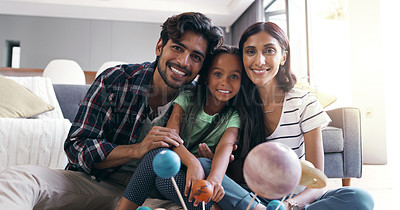 Buy stock photo Portrait of a young family at home
