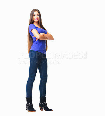 Buy stock photo Studio portrait of a beautiful and confident young woman posing against a white background