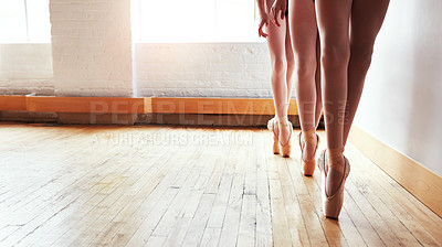 Buy stock photo Cropped shot of a group of young girls practicing ballet together in a dance studio