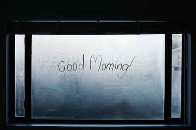 "Buy stock photo Shot of a steamy window with the words ""good morning"" written on them"