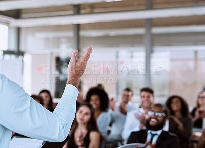 Buy stock photo Cropped shot of a businessman delivering a speech during a conference