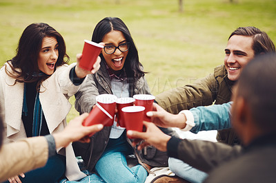 Buy stock photo Shot of a group of cheerful young friends having a picnic together while celebrating with a toast outside in a park during the day
