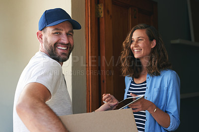Buy stock photo Portrait of a courier making a delivery to a customer at her home