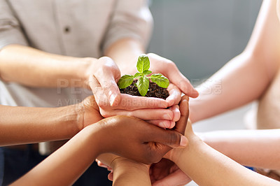 Buy stock photo Closeup shot of a group of people holding a plant growing out of soil