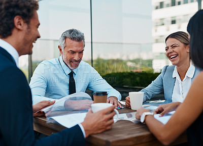 Buy stock photo Cropped shot of corporate businesspeople having a meeting outside