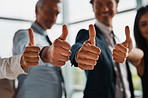 Thumbs up to working together to create a successful business