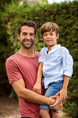 Buy stock photo Portrait of a young boy and his father bonding outdoors