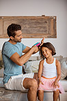 Only dad can do my hair how I want!