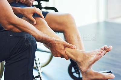 Buy stock photo Cropped shot of an unrecognizable male physiotherapist assisting a senior patient in recovery