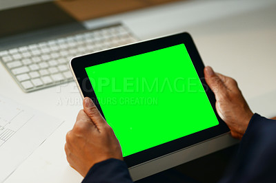 Buy stock photo Closeup shot of an unrecognizable businesswoman using a digital tablet with a green screen in an office