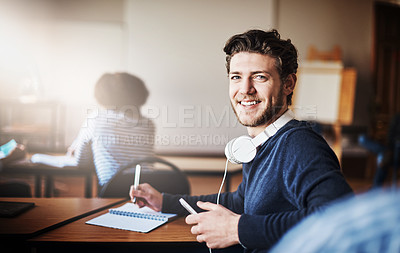 Buy stock photo Cropped shot of university students in class