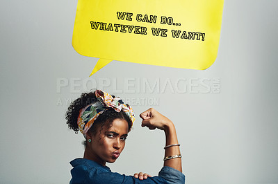 Buy stock photo Studio shot of an attractive young woman posing with a speech bubble that reads