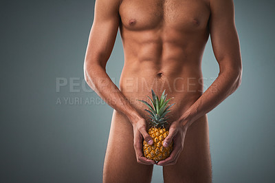 Buy stock photo Studio shot of an unrecognizable shirtless man posing against a grey background