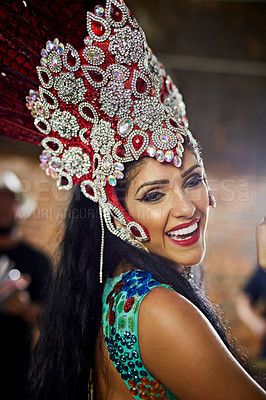 Buy stock photo Portrait of a samba dancer performing in a carnival