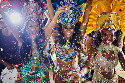 Buy stock photo Portrait of samba dancers performing in a carnival