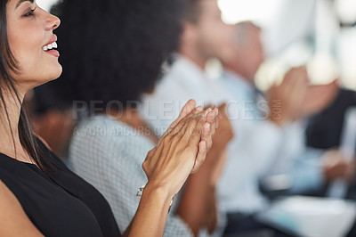Buy stock photo Cropped shot of an attractive young businesswoman applauding during a seminar