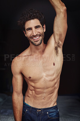 Buy stock photo Portrait of a handsome young shirtless man at home