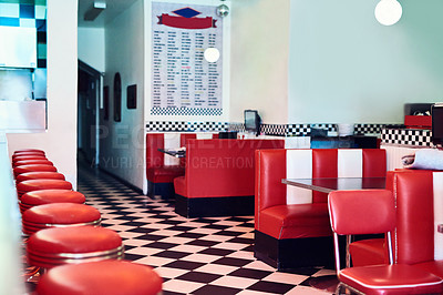 Buy stock photo Cropped shot of an empty retro diner