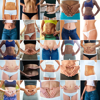 Buy stock photo Composite shot of a diverse group of slim and toned women