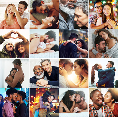 Buy stock photo Composite shot of a diverse group of affectionate couples