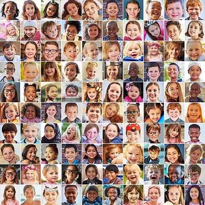 Buy stock photo Composite shot of a diverse group of children