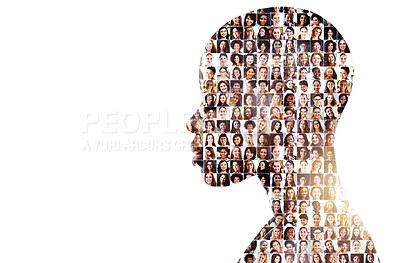 Buy stock photo Composite image of a diverse group of people superimposed on a woman's face