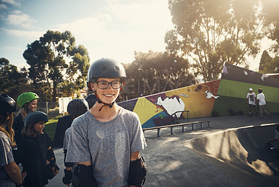 Buy stock photo Portrait of a young girl skateboarding at a skatepark