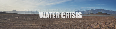 Buy stock photo Shot of a desolate landscape during the day with a small dried out dam in the middle with the words