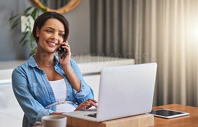 Buy stock photo Shot of a pregnant young woman using a laptop and mobile phone while working from home