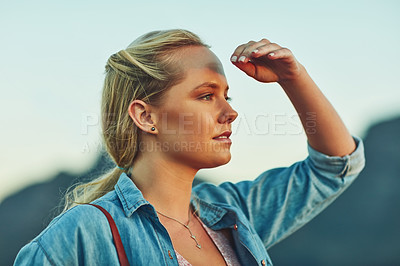 Buy stock photo Cropped shot of a young beautiful woman in nature